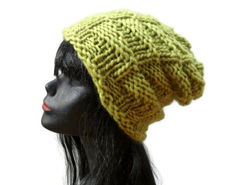 Chunky Knit Beanie - Yellow Green - Warm Wool Winter Hat - Nordic Island Beanie