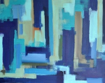 "Original Abstract Painting, Cityscape Urban Art LARGE 20x47"" UNSTRETCHED Rolled in a tube"