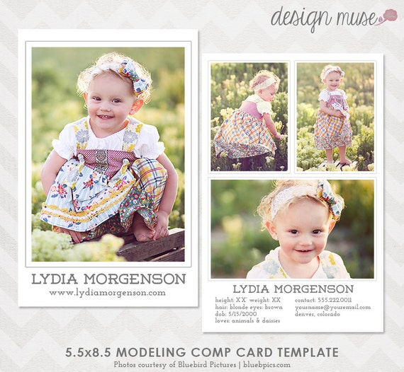 Model comp card template for professional photographers for Model comp card template free