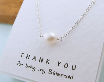 Bridesmaids Pearl Necklace, Sterling Silver, Message Card, Bridesmaid Gift, thank you card, Bridal Jewelry, Wedding, White Pearl