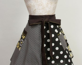 Black Yellow Apron- Polka Dots and Daisies