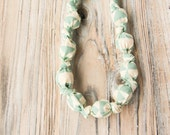 Geometric mint organic cotton nursing / babywearing necklace - wooden beads and organic cotton - Free Shipping
