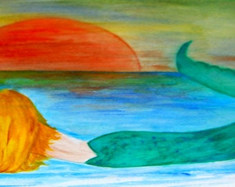 Sunset Mermaid Beach Towel from my art