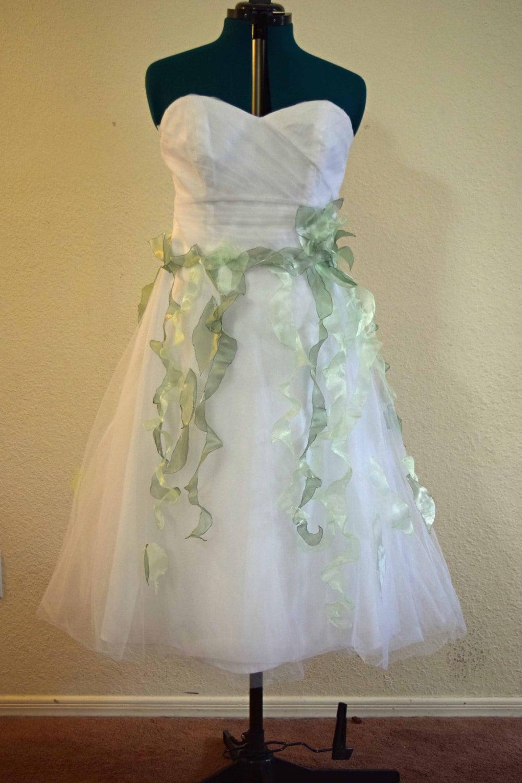 Woodland fairy wedding dress upcycled size 12 tea length for Woodland fairy wedding dress
