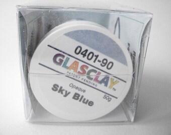 GlasClay Sky Blue 50 gram jar, NIB glass jewelry making supply, opaque glass art supplies