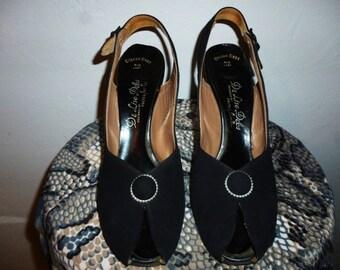 Vintage 40's - De Liso Debs by Palter Deliso in the Rio Last Style - Suede Leather - Peep Toe - Platforms - Slingback - High Heels- 8 1/2 N