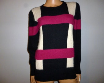 """Vintage 80's - Fluffy - 40% Angora - Black - White - Wine - Color Block -  Sweater - Marked size small - Bust 39"""""""
