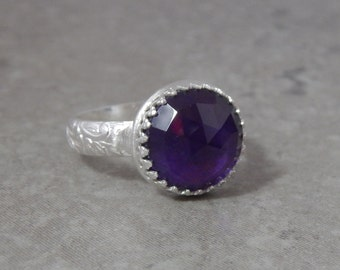 Amethyst and Sterling Silver Ring Size 8.25