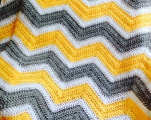 new chevron zig zag ripple baby blanket afghan wrap crochet knit wheelchair stripes VANNA WHITE yarn yellow grey white handmade in USA