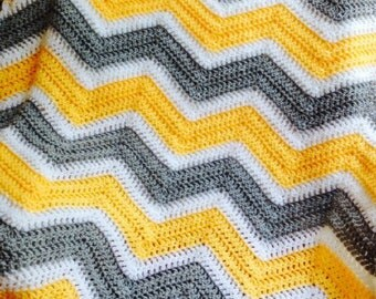 new chevron zig zag ripple baby blanket afghan wrap crochet knit wheelchair stripes VANNA WHITE yarn yellow gray white handmade in USA