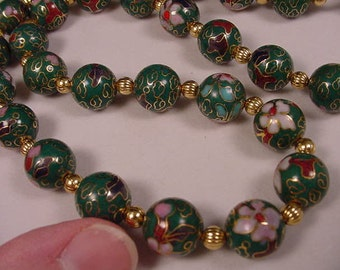Green Cloisonne Beads pink and white flower flowers and gold tone spacers 21 inch long beaded Necklace jewelry V259-1