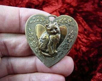 Long haired Cat kitty sitting kitten love cats lover flower scrolled heart Victorian brass brooch pin pendant B-Cat-155