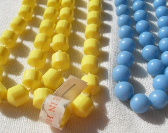 Lot 3 Vintage Necklaces Long Yellow Light Blue and White w Silver 70s Ready to Wear One With Tag