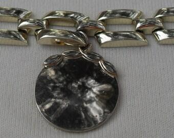 Vintage Bracelet Unusual Gold Colored Metal Large Design Must Look to Appreciate