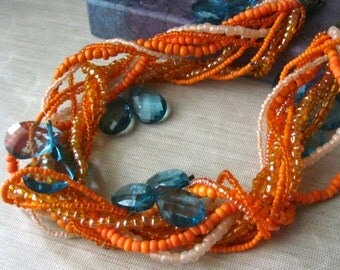 Tropical Statement Necklace, Tropical Necklace, Beach Jewelry, Orange Tribal Necklace, Beach Necklace, Resort Jewelry, Cancun Sunset, Boho