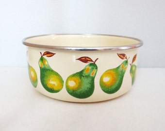Pears Enamel Bowl- retro graphics pears