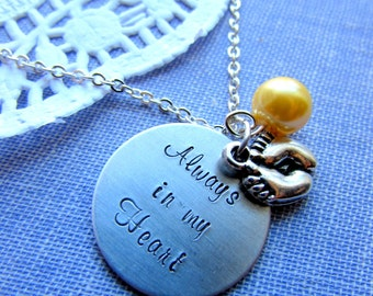 Loss, Miscarriage, Infant, Pregnancy Loss, Remembrance Necklace. Always In My heart Handstamped Charm, Footprint, Glass Pearl Birthmonth.