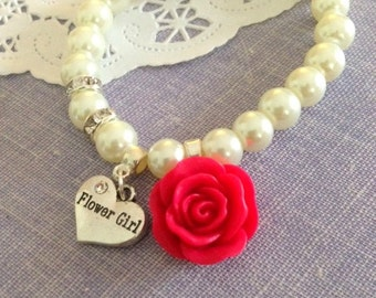 Flower girl bracelet, rose bracelet, flower girl jewelry, rose jewelry, flower girl jewellery.