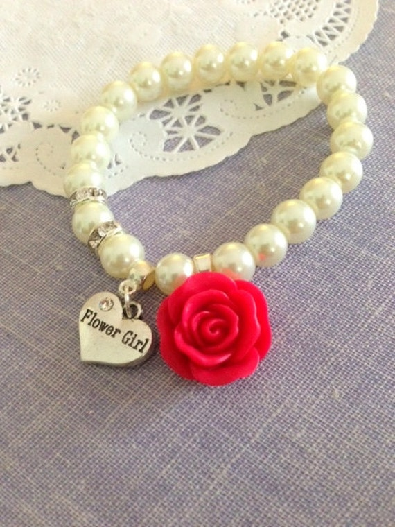 Rose flower, flower girl, stretchy bracelet. CHILD sized.