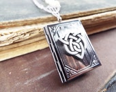 Celtic Book of Sisterly Love - American Pewter Sisters Knot, Trio of Glass Pearl Beads and Gunmetal Book Locket Necklace