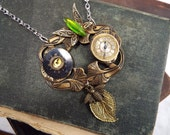 Chaos Theory - Antiqued Brass Lily, Vintage Butterfly Brooch, Vintage Shard Rhinestone, Bee, Watch Movements Pendant Necklace