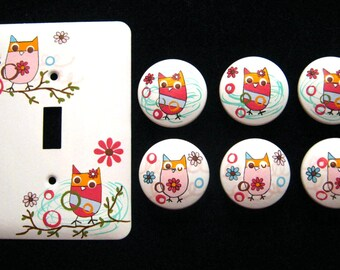 ZUTANO OWLS - Set of 6 knobs & Single METAL Switch Plate - Hand Painted