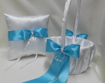 Wedding Accessories White Pool Blue Flower Girl Basket Ring Bearer Pillow Customized Color