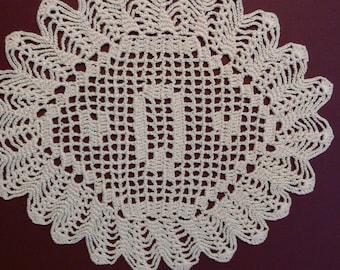 "Handmade Custom Crocheted Initial Doilies ""Q"""