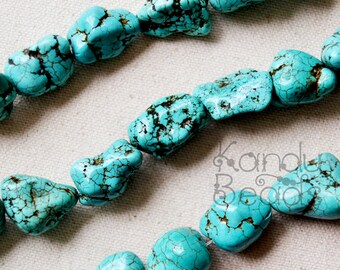 "Robin's Egg Blue Turquoise Color Dyed Magnasite 13-20mm Smooth NUGGET beads 15"" Aprox 25-35 beads"