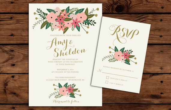 Printable Wedding Invitation and RSVP Bundle // Vintage Floral // Wedding Invitations // Spring Wedding Invitation // Fall Wedding