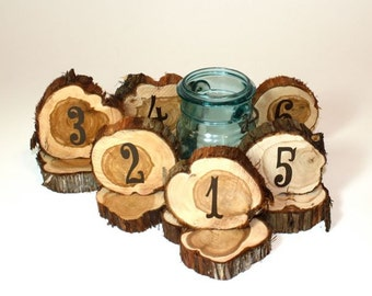 Wedding Table Numbers, rustic cedar circles, set of 13, natural unfinished cedar wood for rustic or woodland weddings