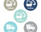 Personalized Construction Plate - Digger & Dump Truck Plate and/or Bowl - Construction Dinnerware - Pick your color!