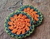 Funky Bohemian Crochet Earrings Orange, Green, Teal, Yellow Earrings, Gypsy Earrings, lightweight earrings