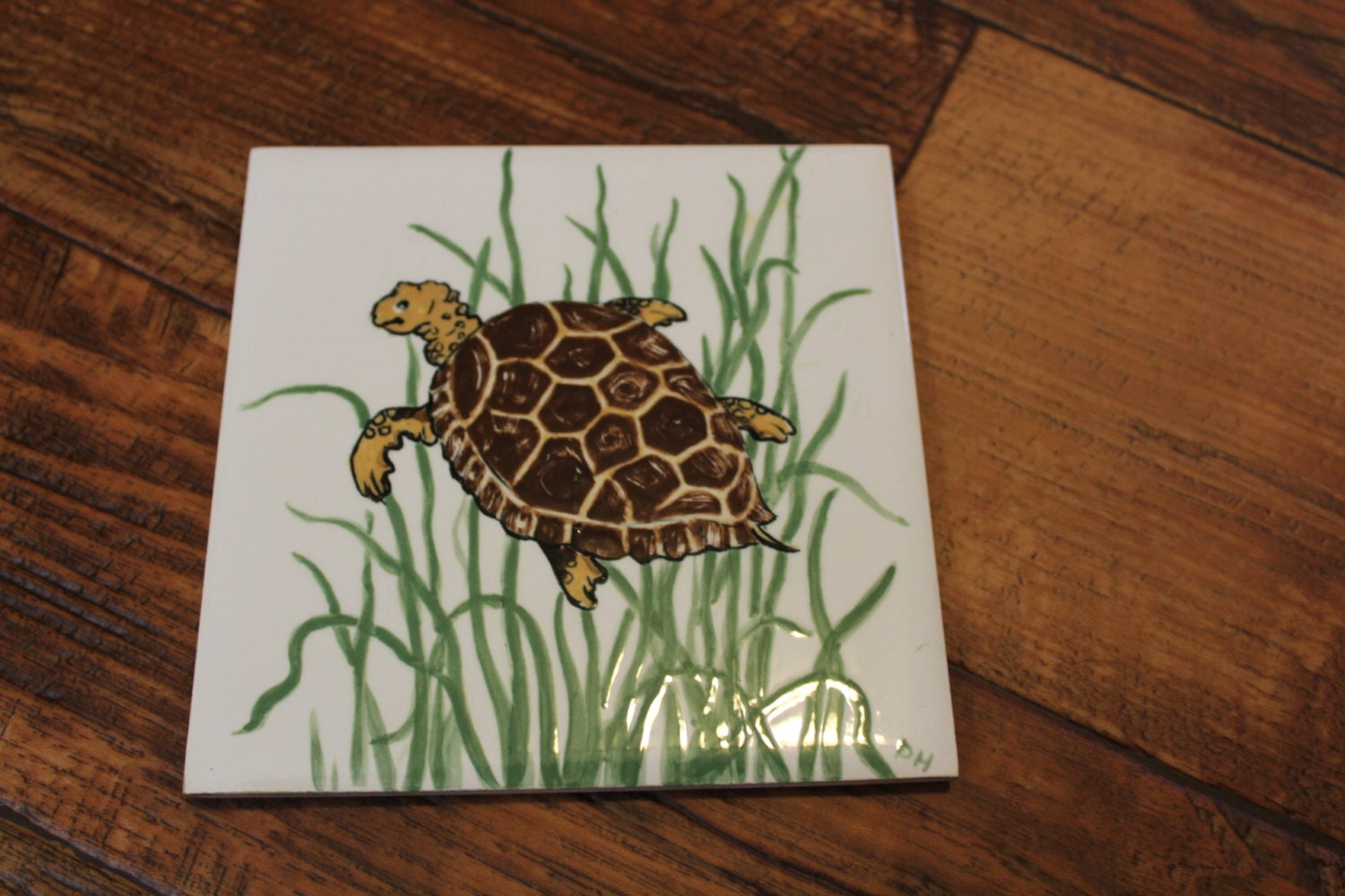 Vintage turtle hand painted ceramic tile by - Hand painted ceramic tile ...