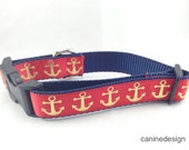 Dog Collar, Gold Anchors Red, 1 inch wide, adjustable, quick release, metal buckle, chain, martingale, hybrid, nylon