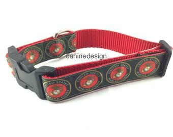 Dog Collar, Marines, USMC, 1 inch wide, adjustable, quick release, metal buckle, chain, martingale, hybrid, nylon