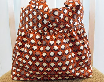 Gathered Cotton  Fabric Bag in Joel Dewberry's Ginseng Modern Buds in Rust, Orange, Brown, Beige and Cream