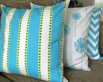 Set of Three Decorative PIllow Covers, Aqua, Green and White, Zipper Closure, Washable