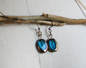 Blue Drop Earring / Glass Drop Earring / Vintage-inspired jewelry / Antique brass and bronze-rimmed turquoise glass drop earrings/ Avalon