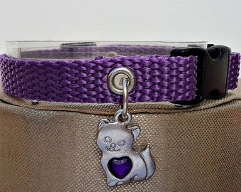 Purple Cat Collar with Breakaway Buckle and Kitty Charm