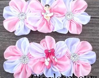 Set of 2- BeauTiFUL Embellished Satin CLuSTeR Flowers- BaLLeRiNA SeT- 4 inch Size