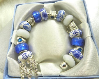 Blue and Milky White Glass Beaded Bangle with a Rhinestone Letter M, Cuff, Bracelet, Porcelain, Purse, Hearts, Fits up to an 8 inch wrist