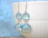 Aquamarine Earrings, Silver Earrings, Wedding Jewelry, Bridesmaid Earrings, Best Friend Birthday, Holiday Gift