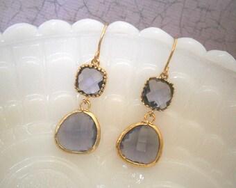 Amethyst Earrings, Purple Earrings, Gold Earrings, Wedding Jewelry, Bridal Jewelry, Bridesmaid Earrings, Best Friend, Birthday