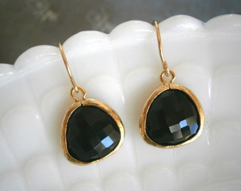 Black Earrings, Gold Earrings, Fashion Jewelry, Discounted Jewelry, Mom Gift, Sister Gift, Bridesmaid Earrings
