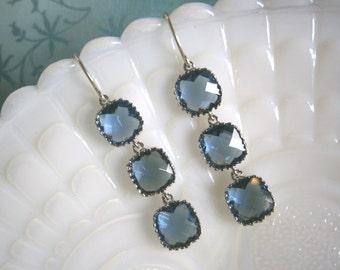 Blue Earrings, Sapphire Earrings, Silver Earrings, Wedding Jewelry, Bridal Jewelry, Best Friend Birthday, Bridesmaid Earrings