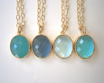 Aqua Necklace, Sapphire Necklace, Gold Necklace, Teal Necklace, Aquamarine Necklace