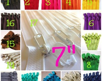 7 inch Handbag zippers with long pull, Choose Twenty-five pcs - neutrals, turquoise, aqua, purple, green, sunflower, orange, hot pink, red