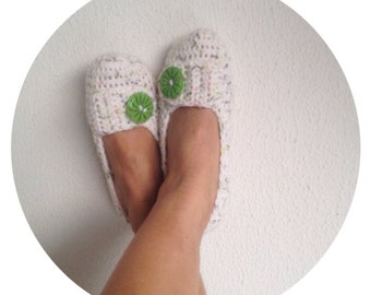 White Green Pink Tweed with Green Button Crochet Womens Slippers, Ballet Flats, House Shoes
