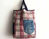 Large Plaid Tote Bag